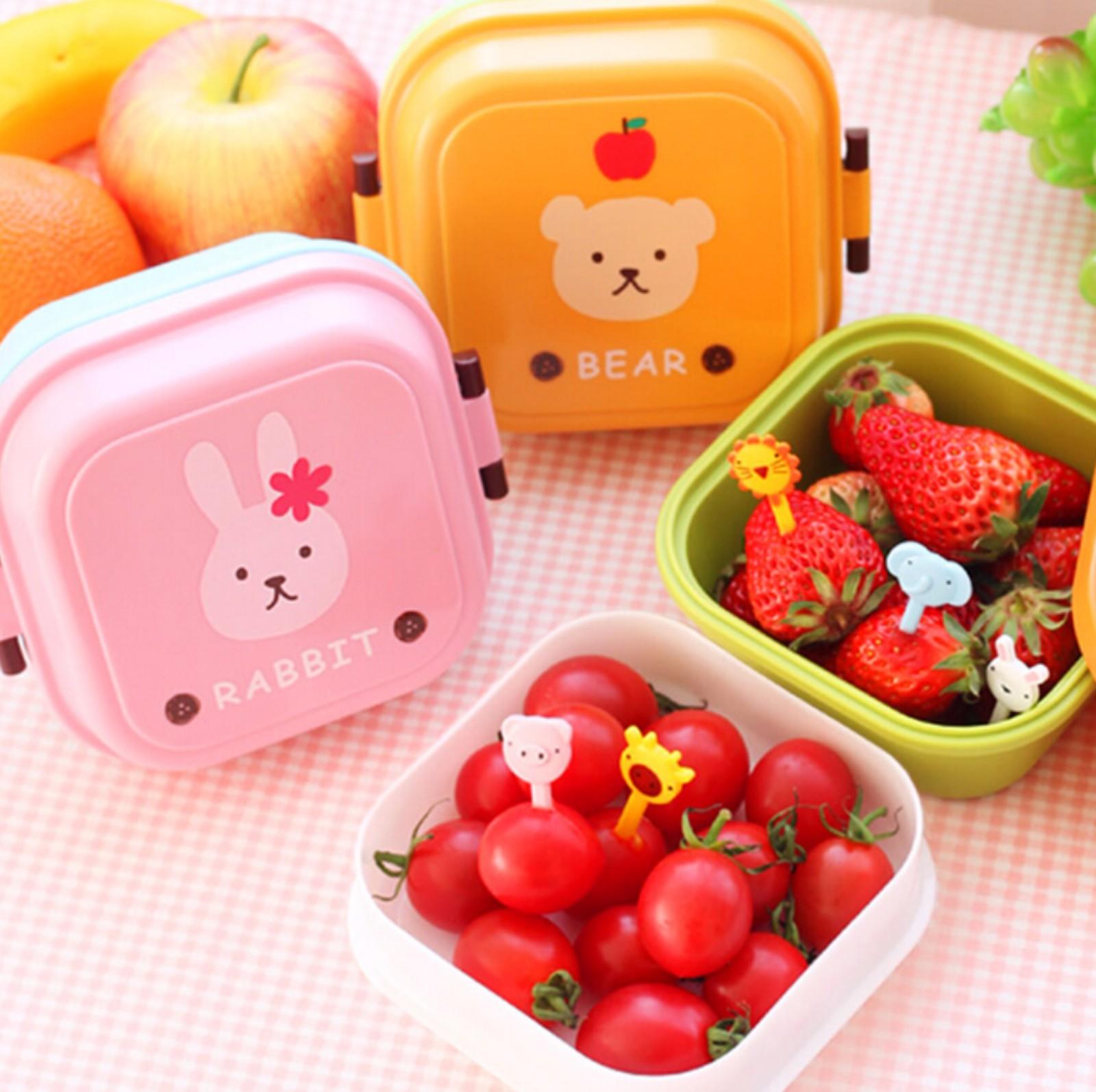 韩版饭盒卡通动物儿童餐盒 可爱迷你双层便当盒水果盒