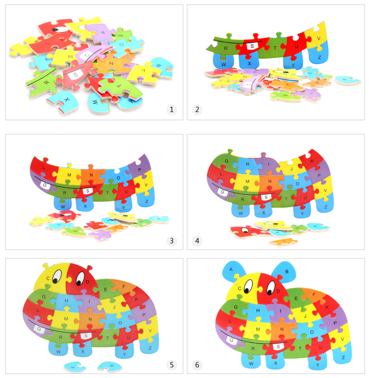 木质动物26个字母拼图玩具 拼板积木认知 幼儿童宝宝